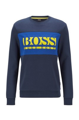 Slim-fit logo sweatshirt with colour-blocking, Dark Blue
