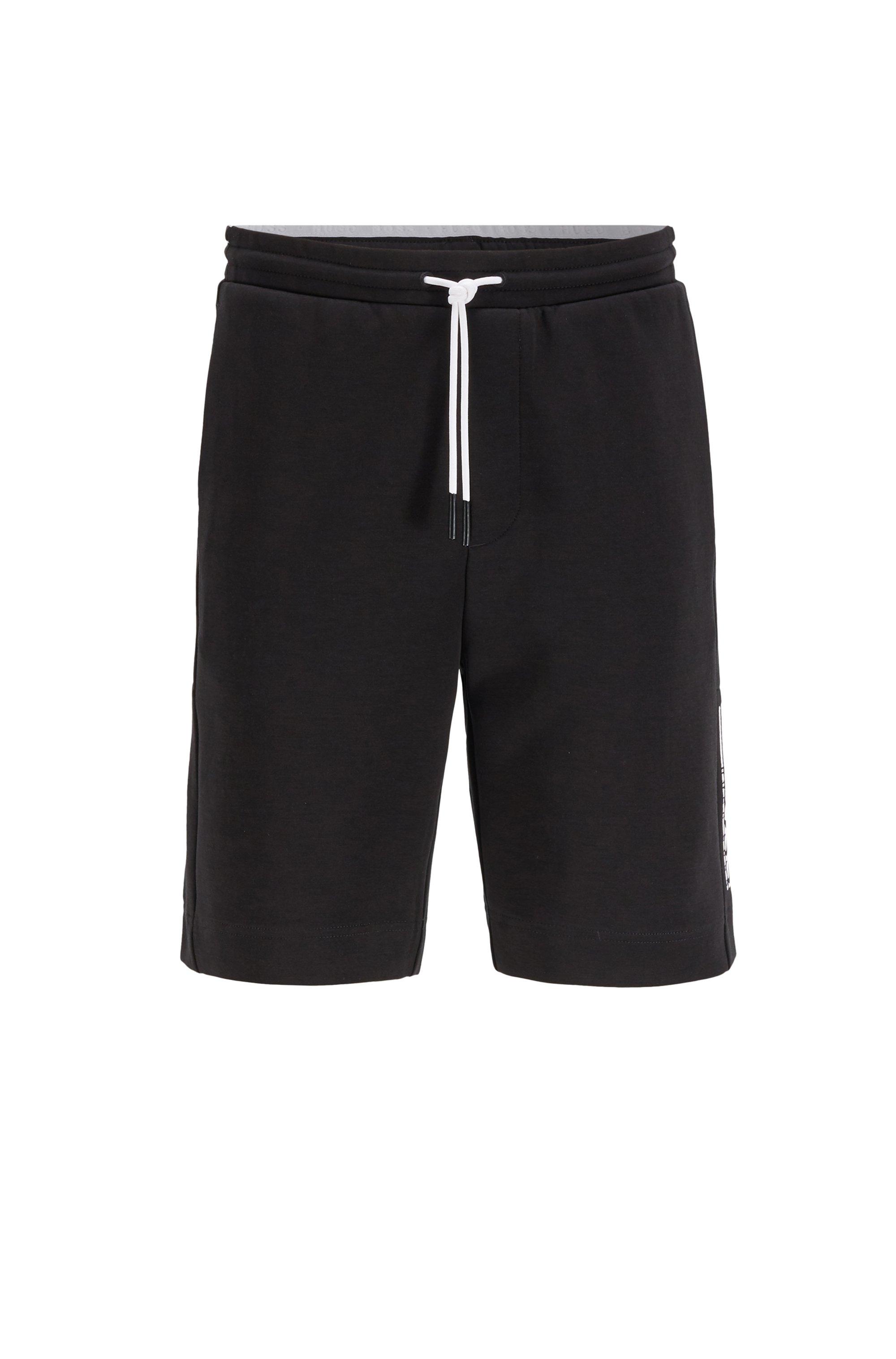 Short en jersey interlock avec logo color block, Noir
