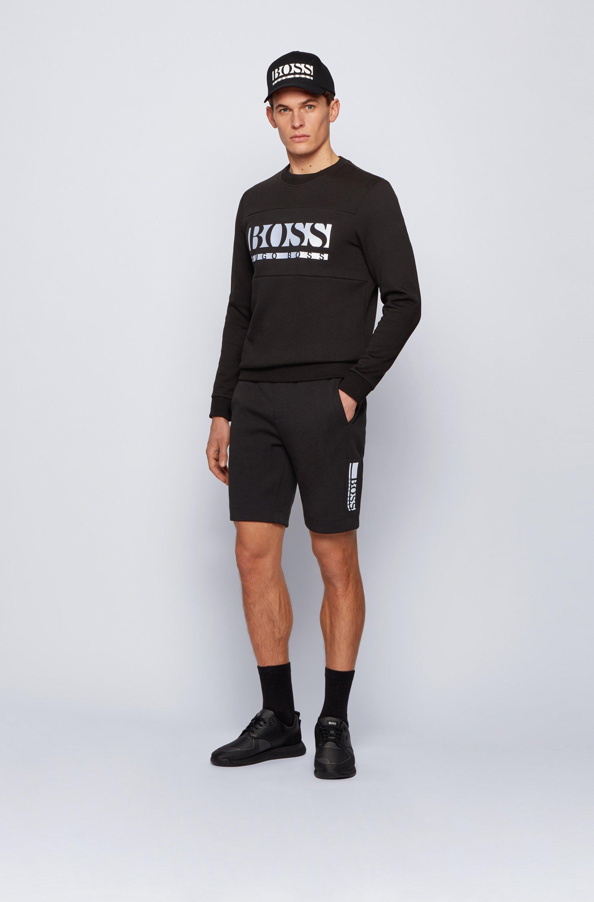 Shorts van interlocked jersey met logo in color-blocking
