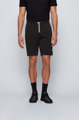 Interlock-jersey shorts with colour-block logo, Black