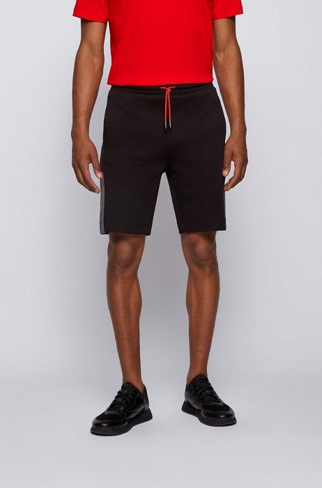 Shorts van interlocked jersey met logo in color-blocking, Zwart