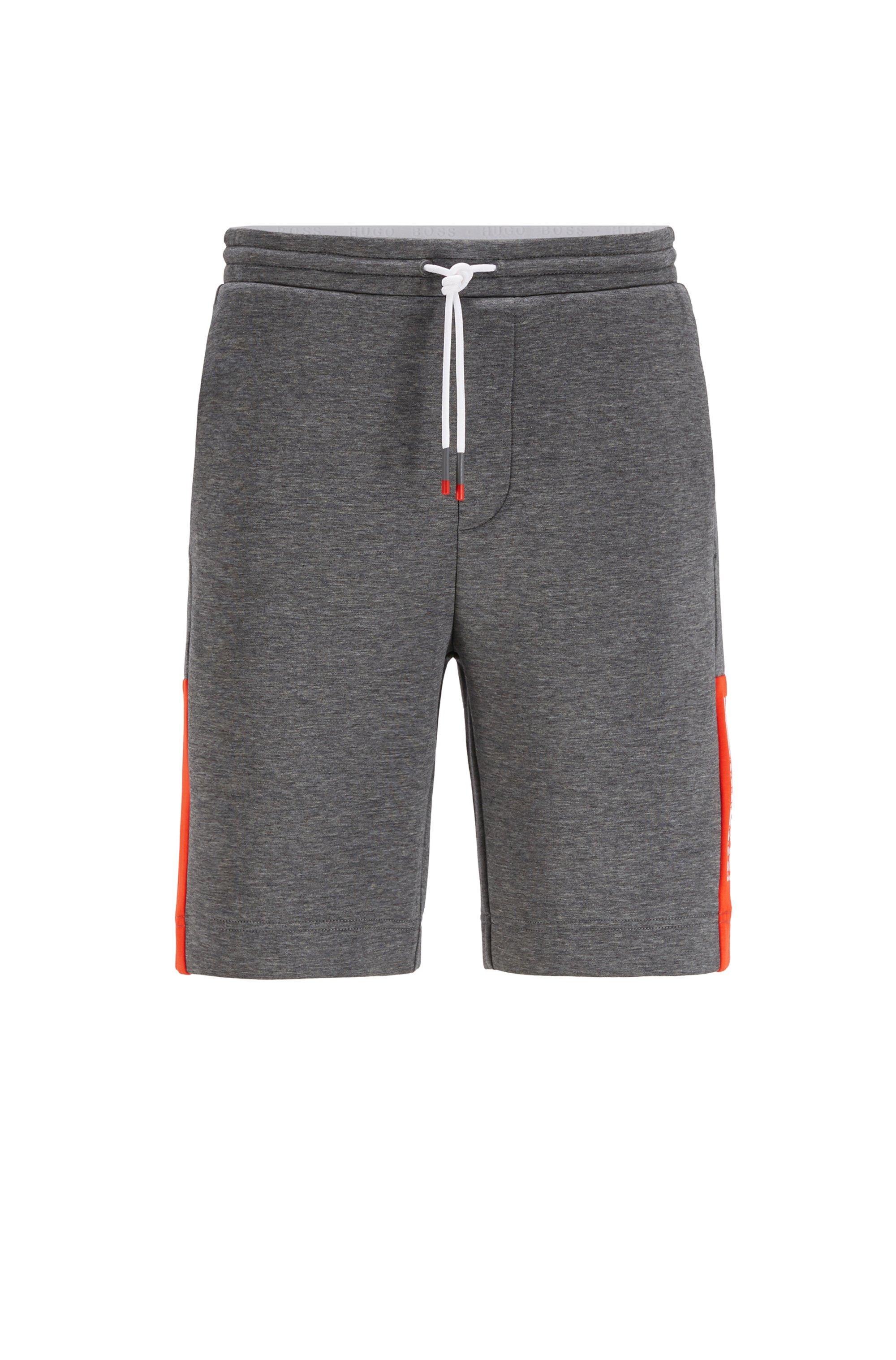 Short en jersey interlock avec logo color block, Gris