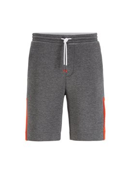 Interlock-jersey shorts with colour-block logo, Grey