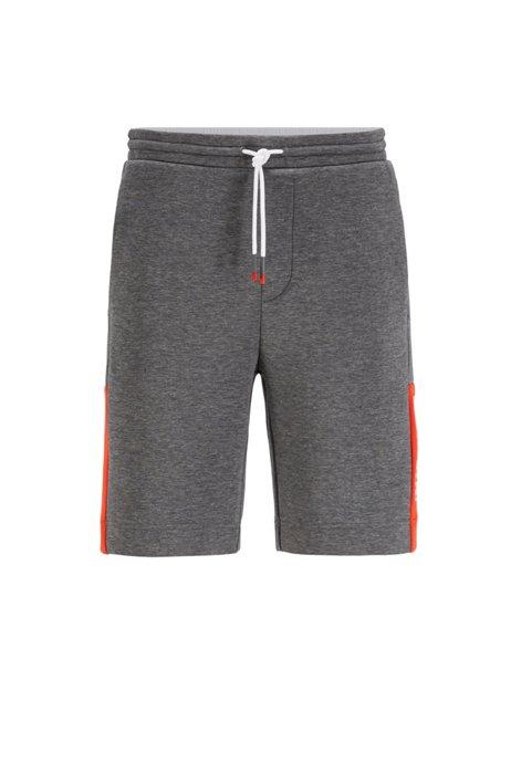 Interlock-jersey shorts with colour-block logo, Grey