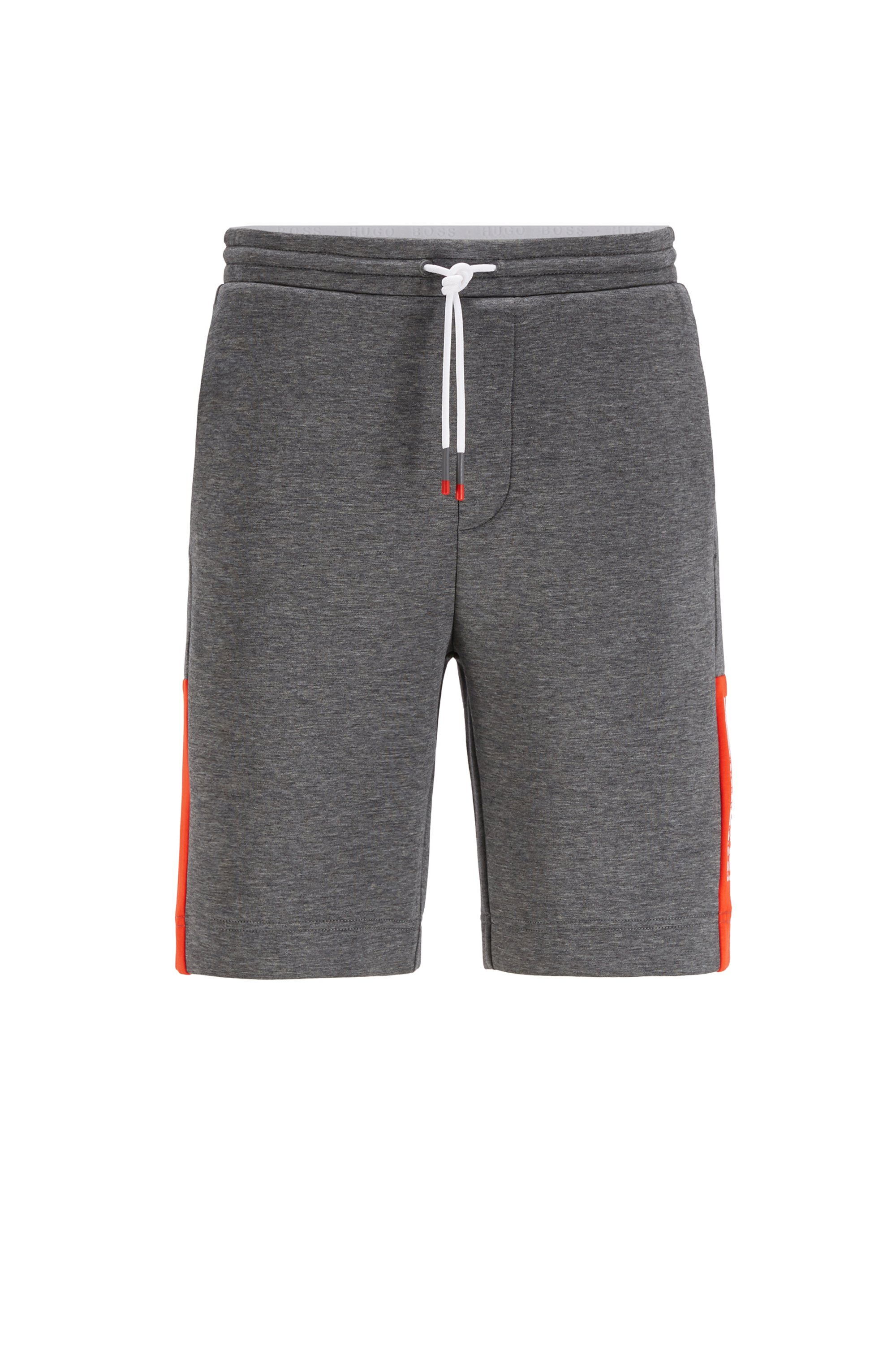 Short en jersey interlock avec logo color block, Gris