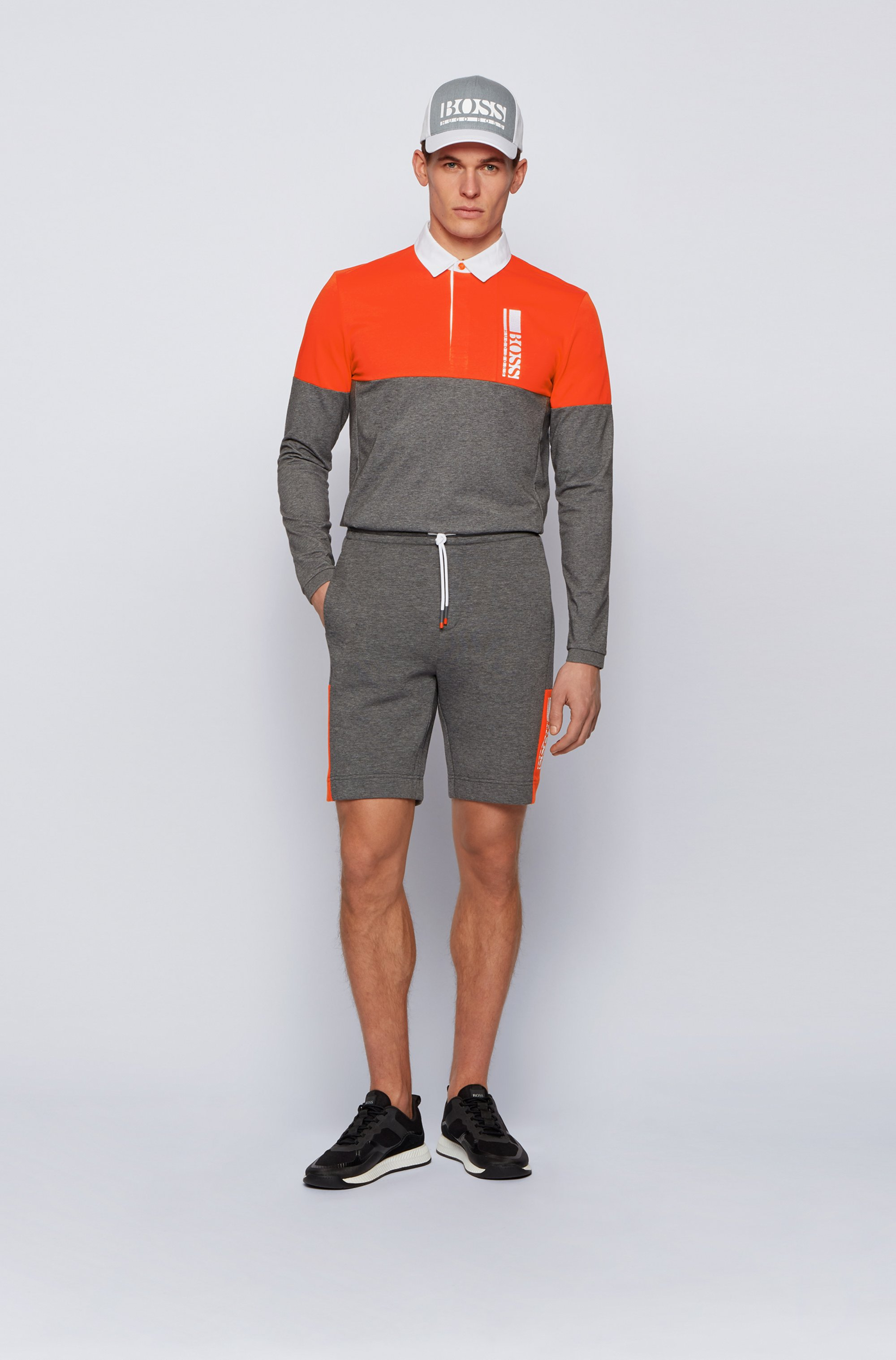 Interlock-jersey shorts with colour-block logo