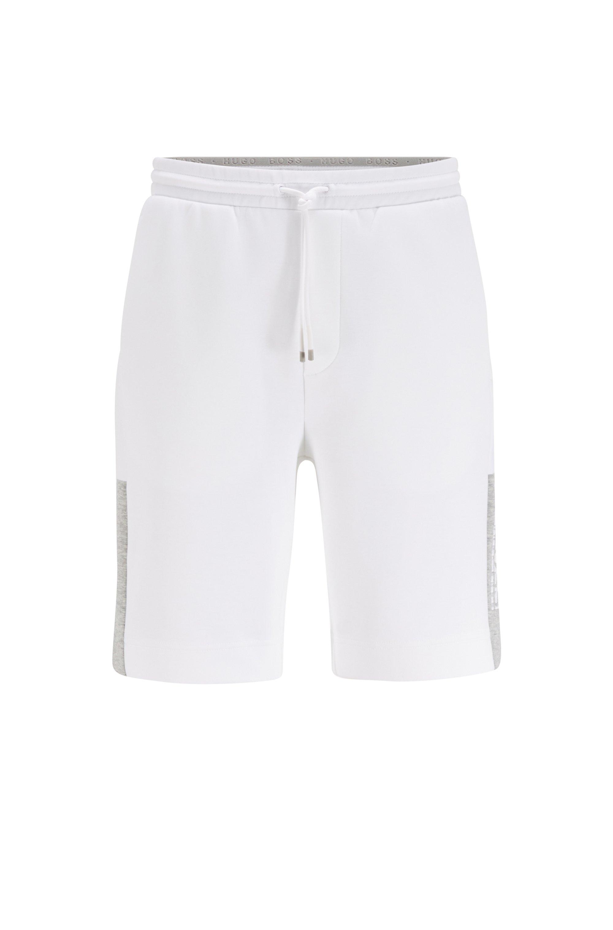 Shorts van interlocked jersey met logo in color-blocking, Wit