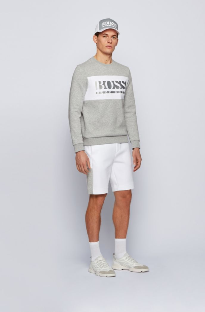 Interlock-jersey shorts with colour-block logo