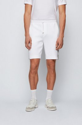 Interlock-jersey shorts with colour-block logo, White