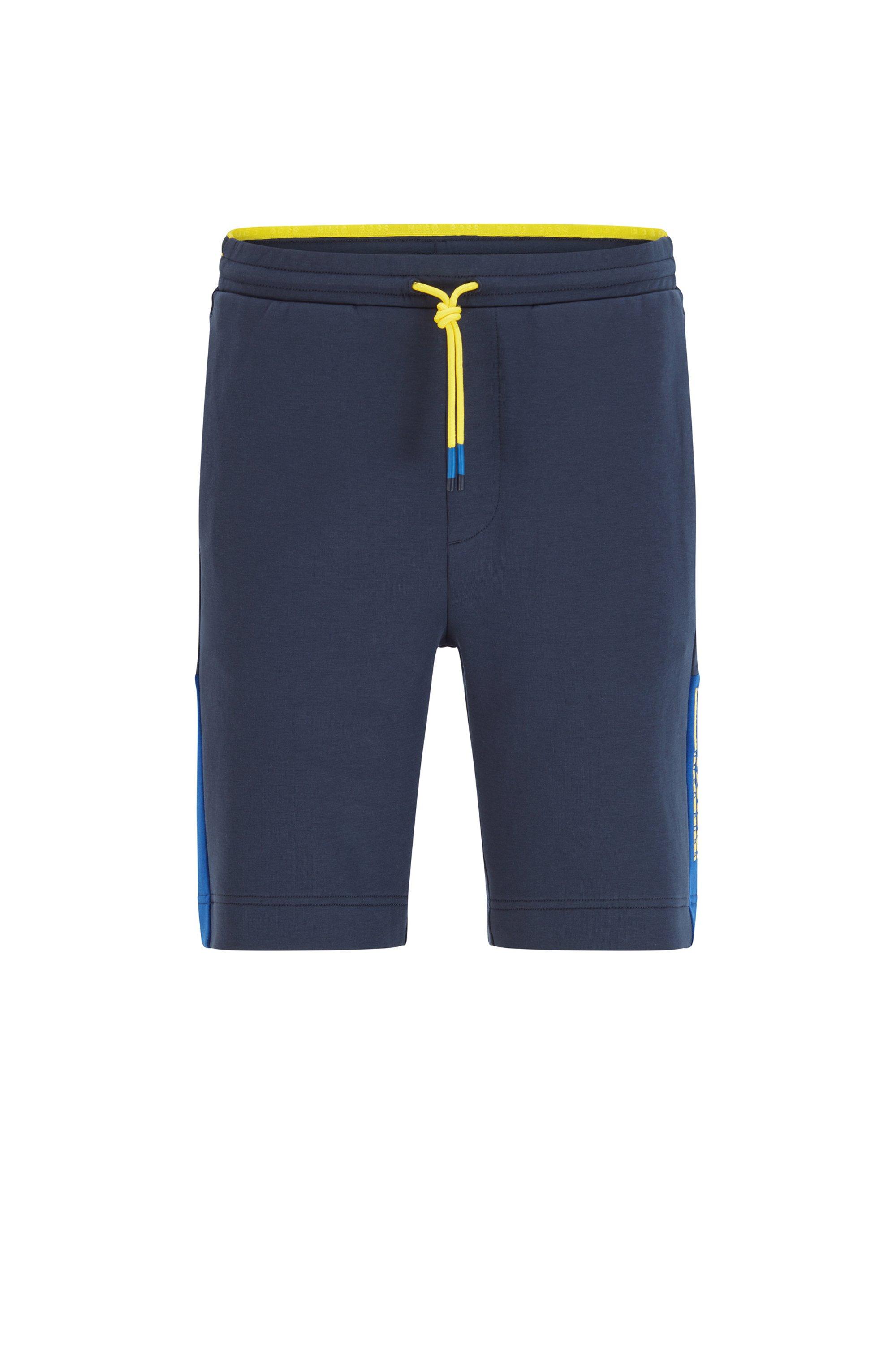Short en jersey interlock avec logo color block, Bleu foncé