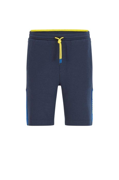 Shorts van interlocked jersey met logo in color-blocking, Donkerblauw