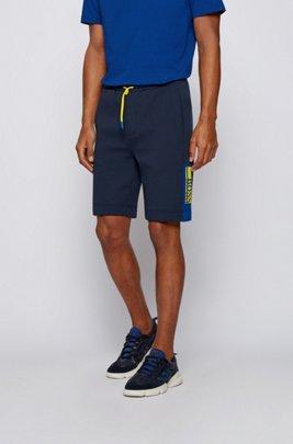 Shorts aus Interlock-Jersey mit Colour-Block-Logo, Dunkelblau
