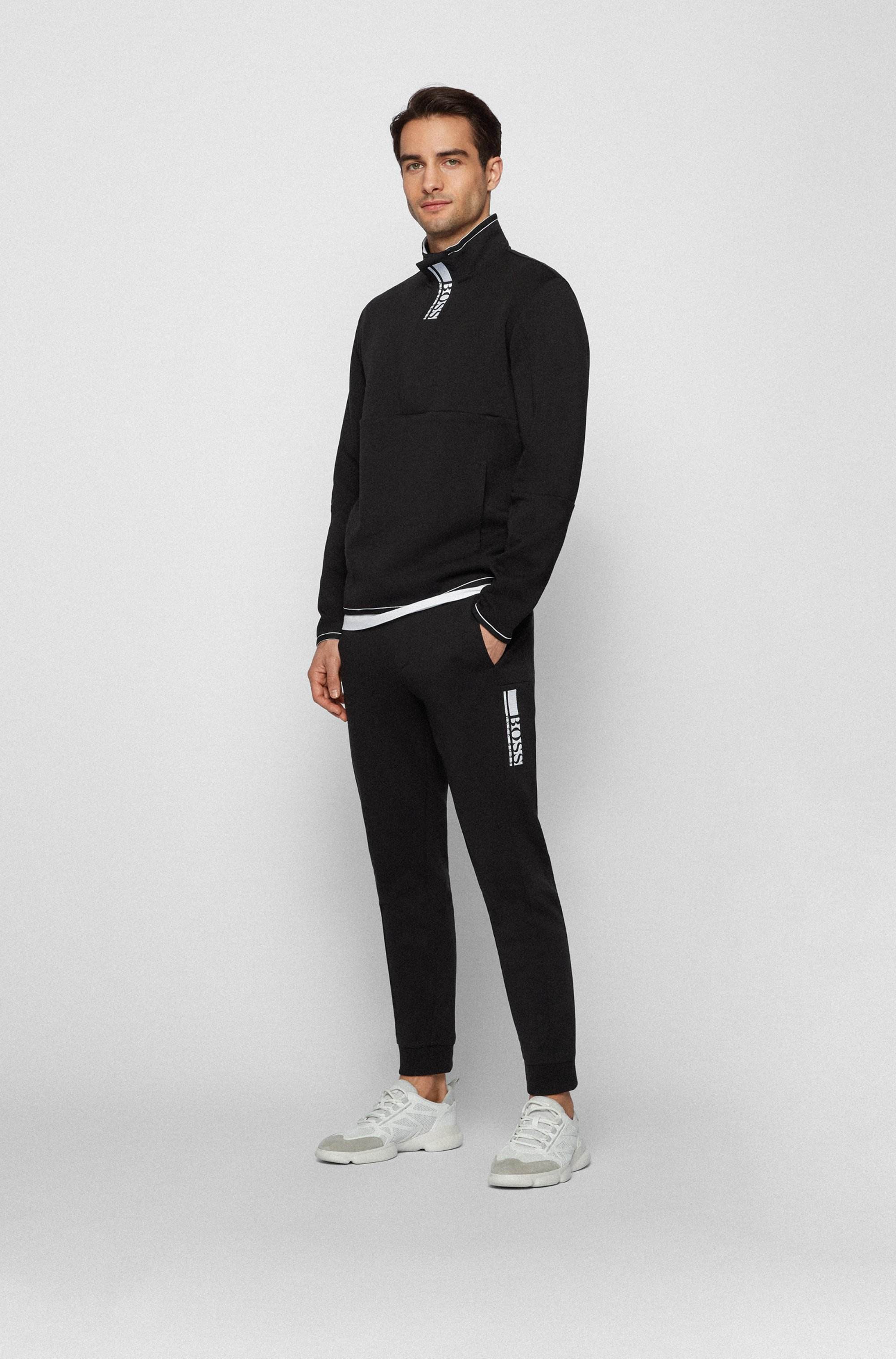Cuffed-hem tracksuit bottoms with colour-block logo