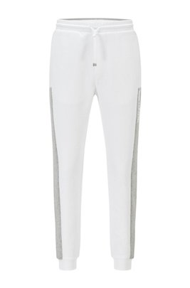 Cuffed-hem tracksuit bottoms with colour-block logo, White