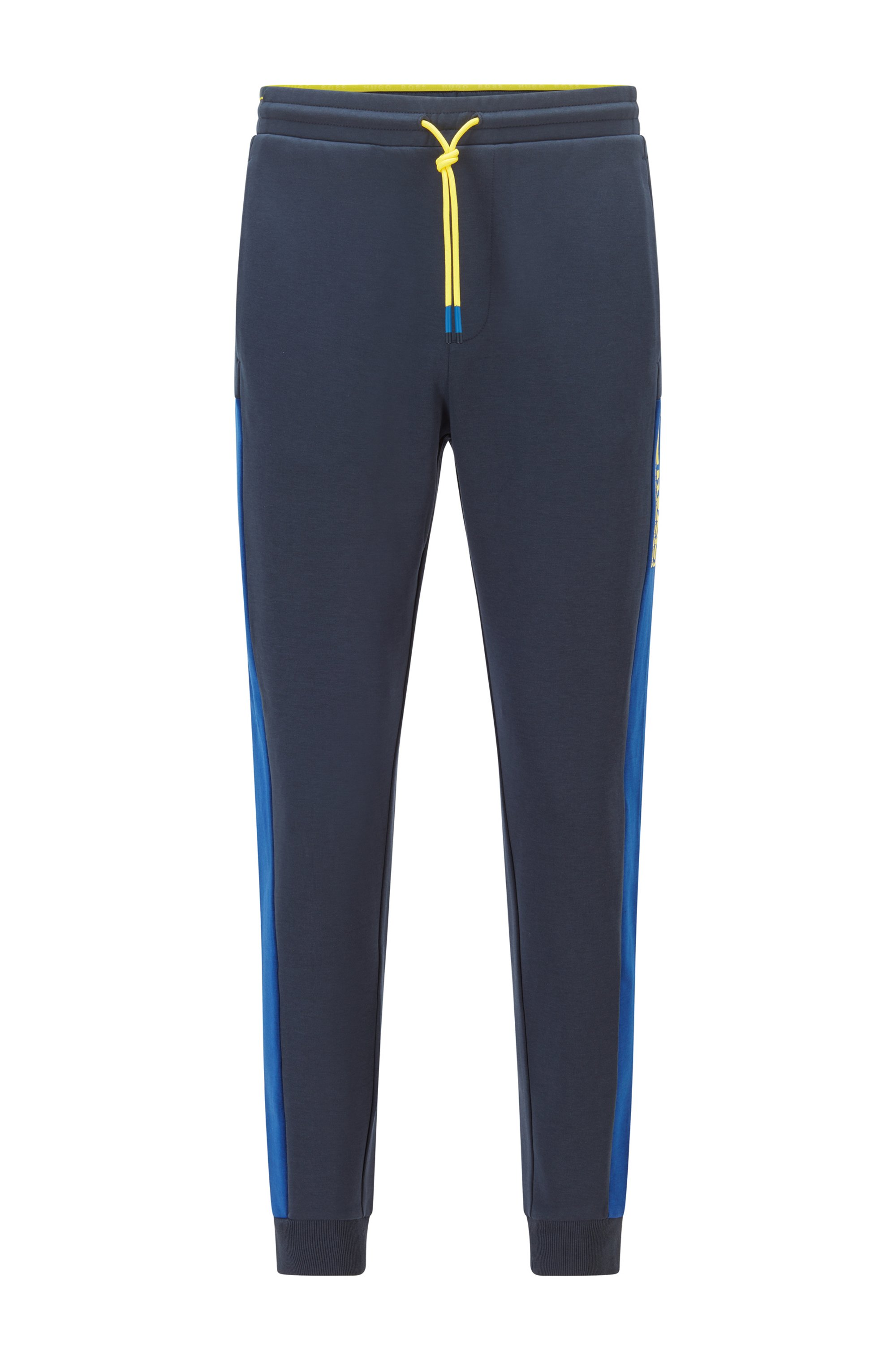 Cuffed-hem tracksuit bottoms with colour-block logo, Dark Blue