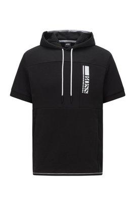 Kapuzen-Sweatshirt mit kurzen Ärmeln und gesticktem Colour-Block-Logo, Schwarz