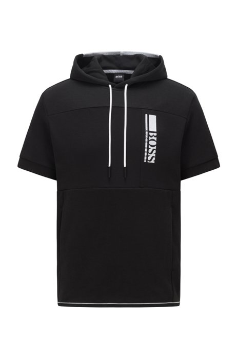 Short-sleeved hooded sweatshirt with colour-block logo embroidery, Black