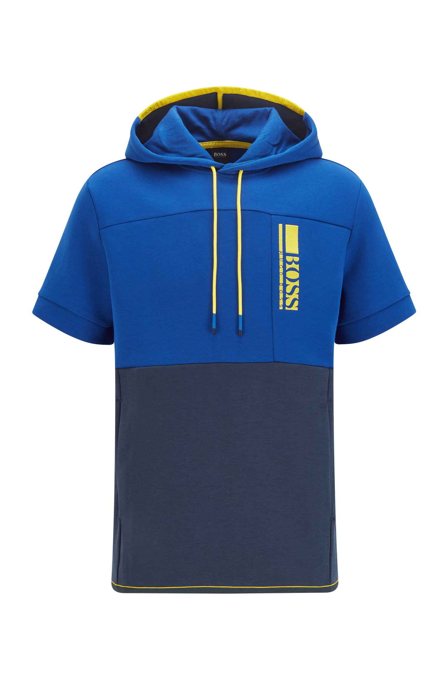 Short-sleeved hooded sweatshirt with colour-block logo embroidery, Dark Blue