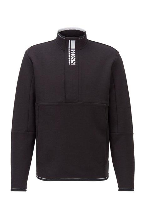 Interlock quarter-zip sweatshirt with colour-block logo, Black