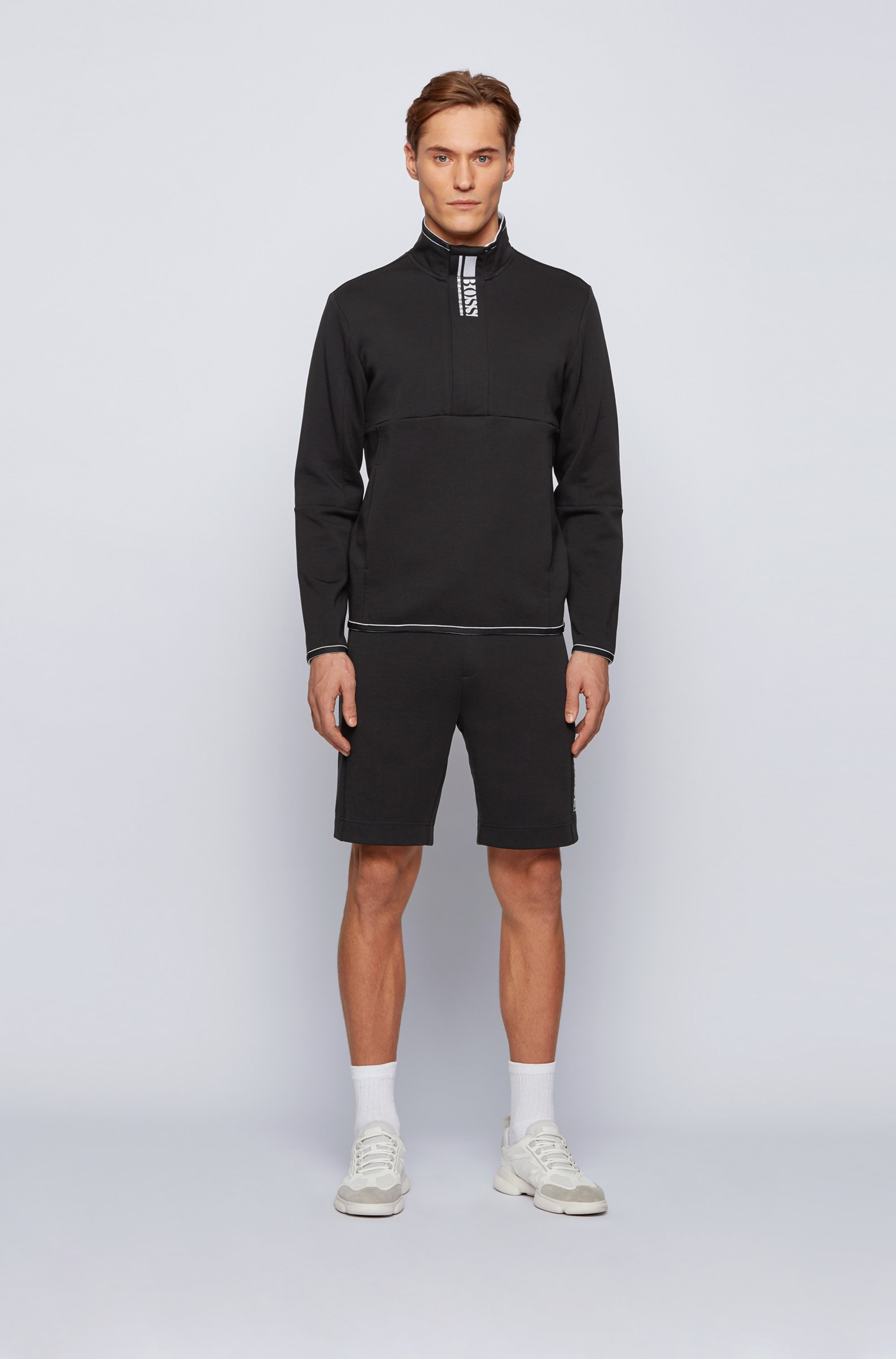Interlock quarter-zip sweatshirt with colour-block logo