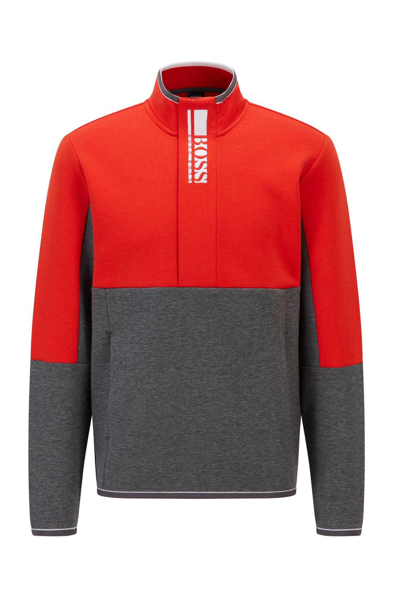 Interlock quarter-zip sweatshirt with colour-block logo, Grey