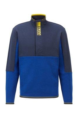 Interlock quarter-zip sweatshirt with colour-block logo, Blue