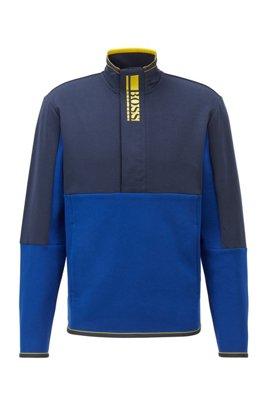 Sweatshirt aus Interlock mit kurzem Reißverschluss und Colour-Block-Logo, Blau