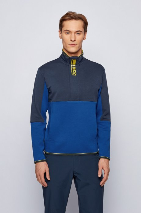 Interlock quarter-zip sweatshirt with colour-block logo, Blue