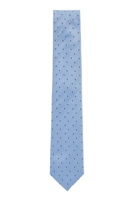 Micro-patterned tie in water-repellent silk, Light Blue