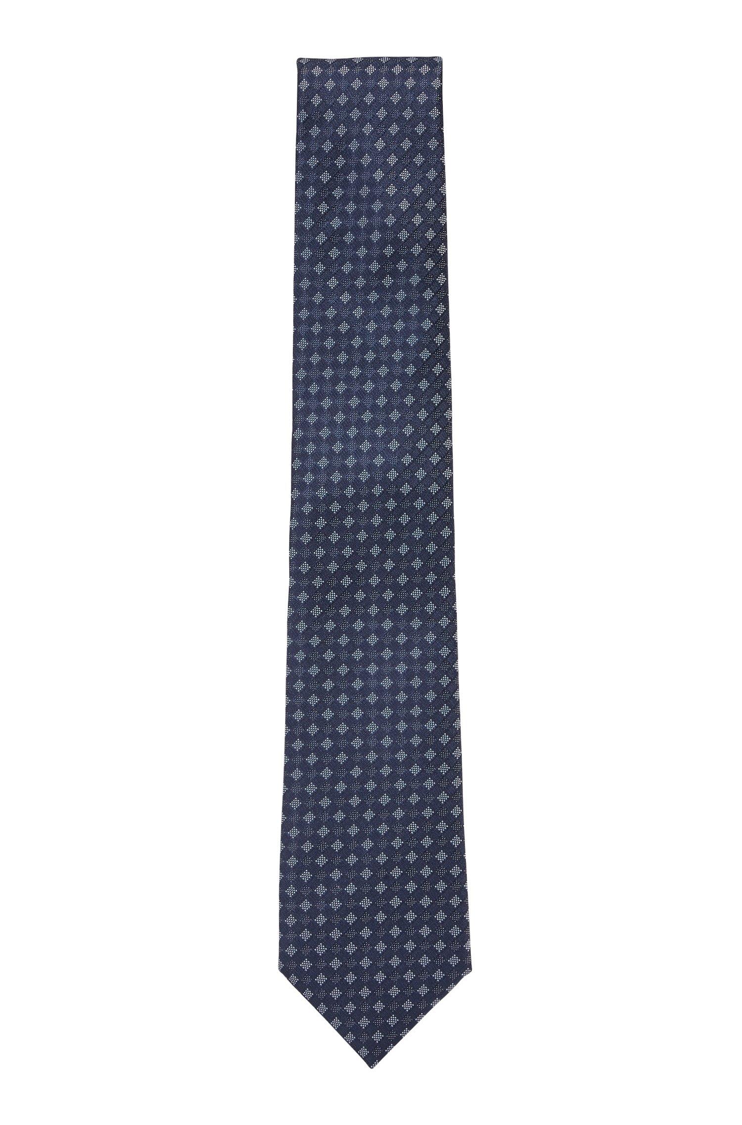 Stropdas van waterafstotende zijde met microdessin, Donkerblauw