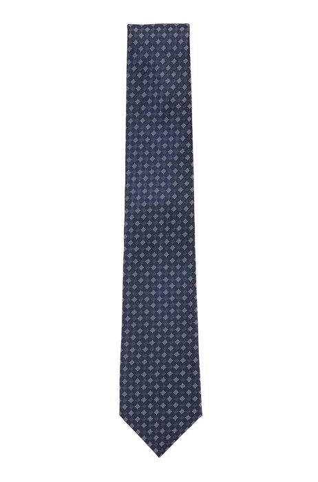 マイクロパターン ネクタイ はっ水 シルク, ダークブルー