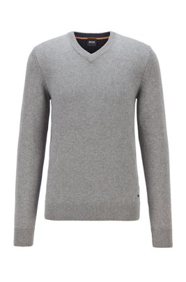 Regular-fit knitted sweater with V neckline, Grey
