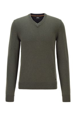 Regular-fit knitted sweater with V neckline, Light Green