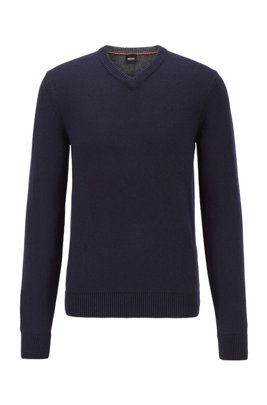 Regular-fit knitted sweater with V neckline, Dark Blue