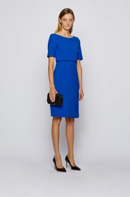 Shift dress with asymmetric skirt detail, Light Blue
