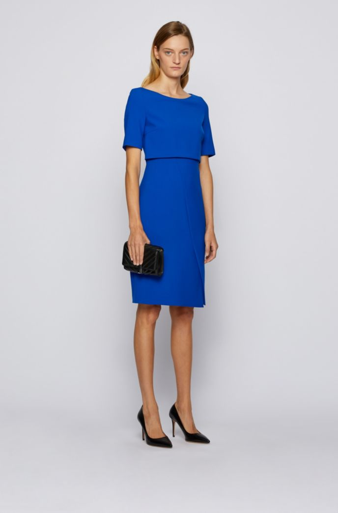 Shift dress with asymmetric skirt detail