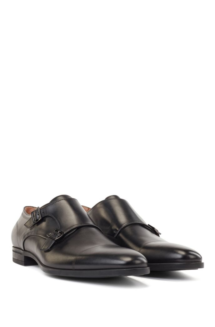 Calf-leather monk shoes with stitch detailing