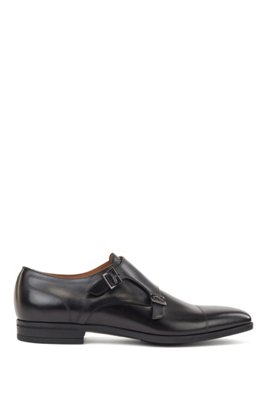 Calf-leather monk shoes with stitch detailing, Black
