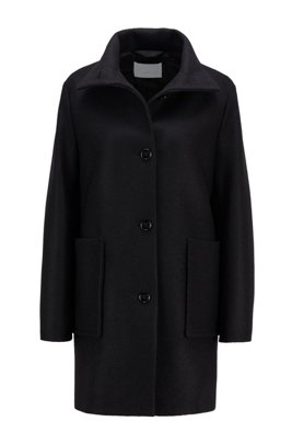 Relaxed-fit coat in boiled wool with patch pockets, Black