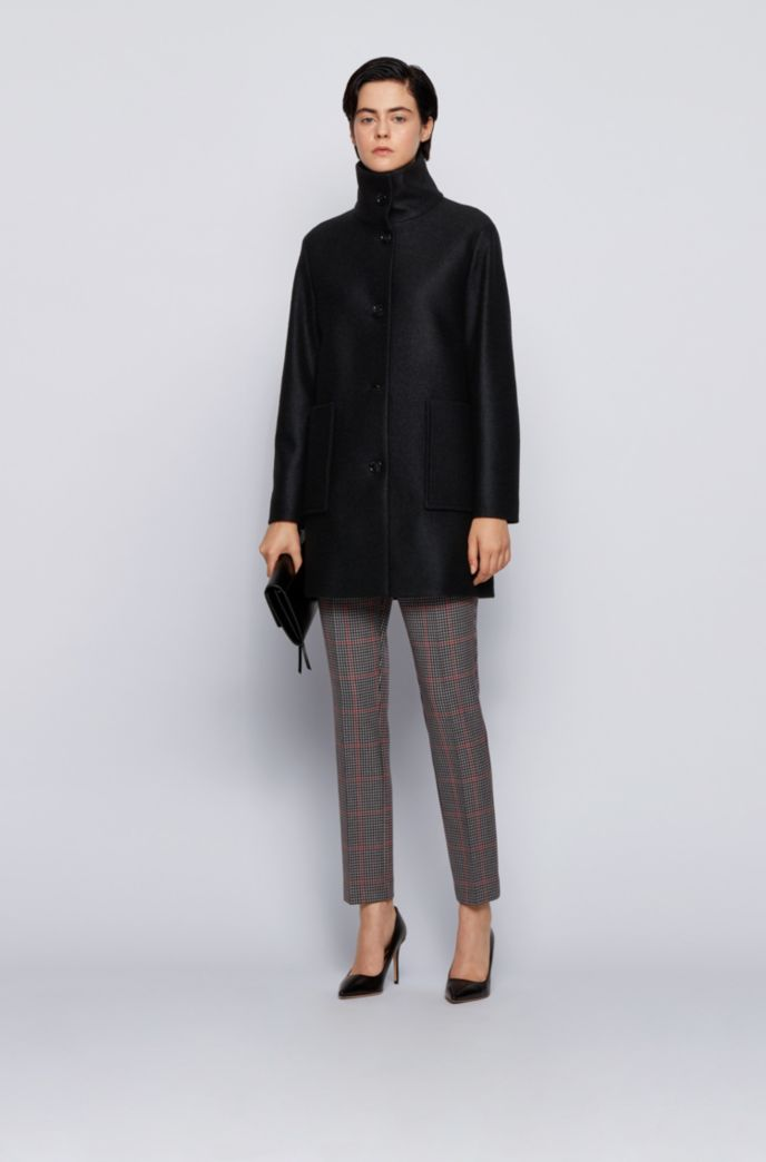 Relaxed-fit coat in boiled wool with patch pockets