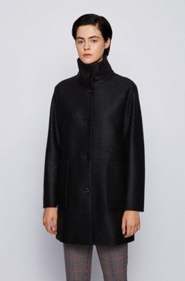 Relaxed-Fit Mantel aus Wollwalk mit aufgesetzten Taschen, Schwarz
