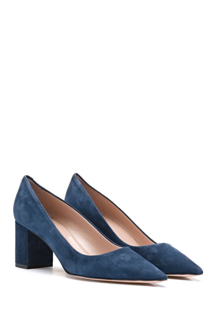 Block-heel pumps in Italian suede with pointed toe