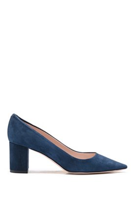 Block-heel pumps in Italian suede with pointed toe, Dark Blue
