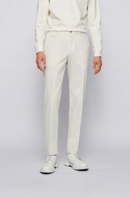 Slim-fit trousers in garment-dyed stretch cotton, White