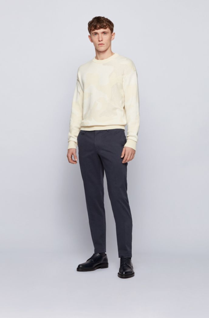 Slim-fit trousers in garment-dyed stretch cotton