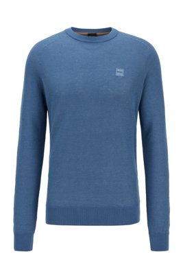 Cotton-blend knitted sweater with logo patch, Light Blue