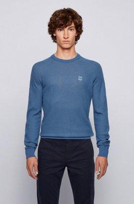Gebreide trui van een katoenmix met logopatch, Lichtblauw