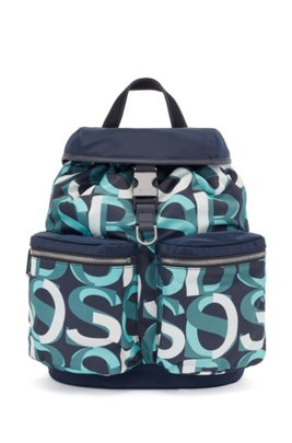 Structured-nylon backpack with overlapping logos, Dark Blue