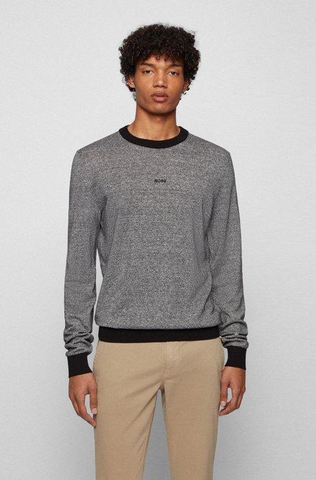 Regular-fit logo sweater in organic cotton and hemp, Black