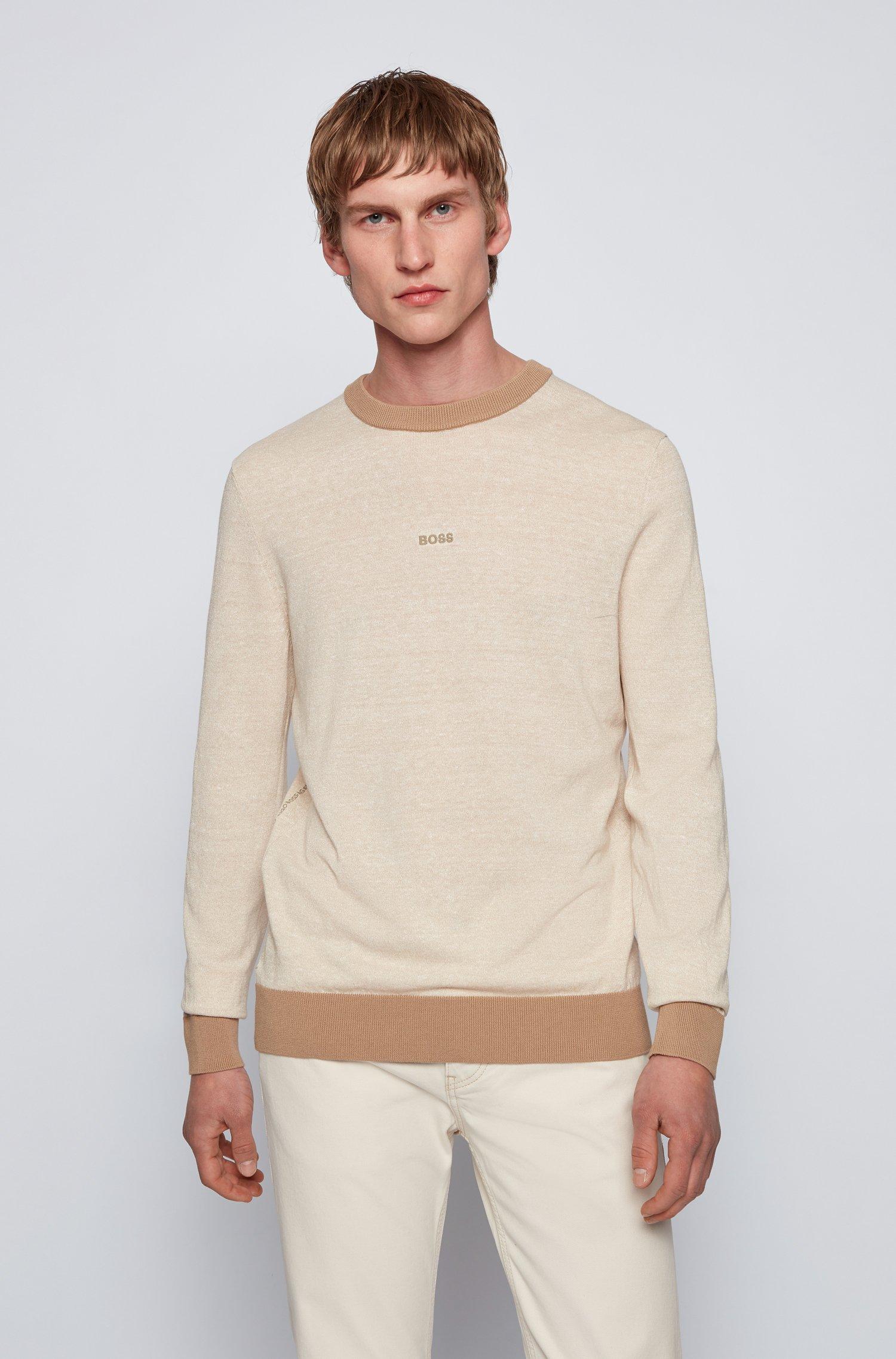 Regular-fit logo sweater in organic cotton and hemp, Light Beige